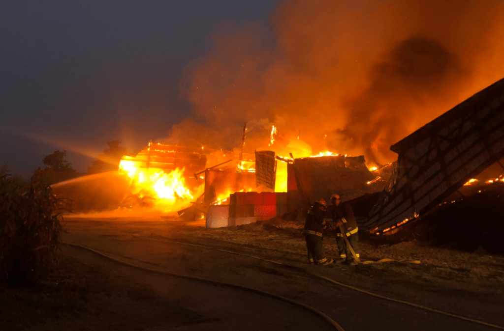 Scene of a barn fire in Sumas (August 14, 2021). Photo courtesy of Sumas Police