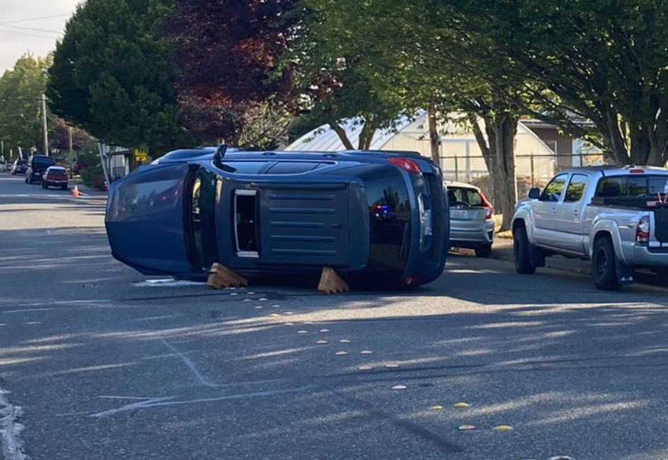 Scene of a rollover crash at F and Halleck Streets (September 16, 2021). Photo courtesy of Bellingham Police