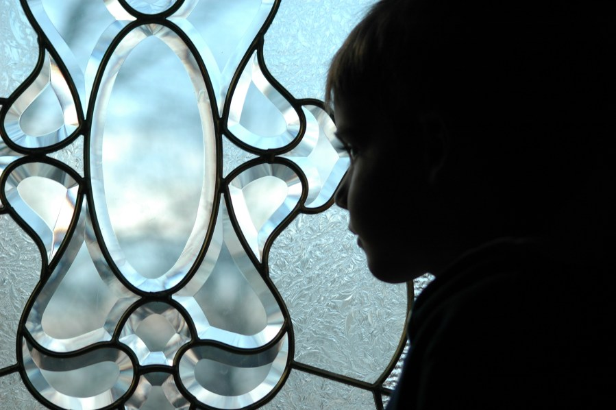 child gazing through decorative window