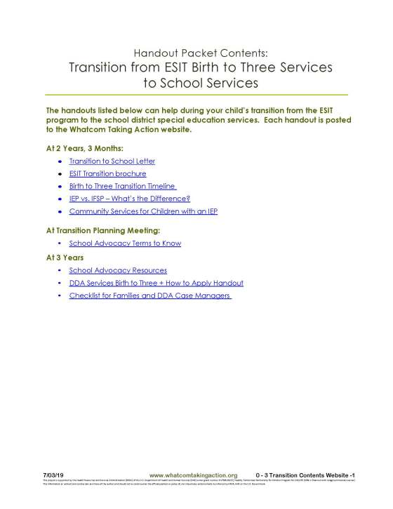 0 to 3 Transition Contents website 2019-07-05