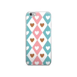 Decorative Seamless Pink Blue White Brown Hearts Pattern iPhone 5/5s/Se, 6/6s, 6/6s Plus Case