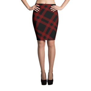 Dual Black Striped Red Gingham Dark Red Sublimation Cut & Sew Pencil Skirts