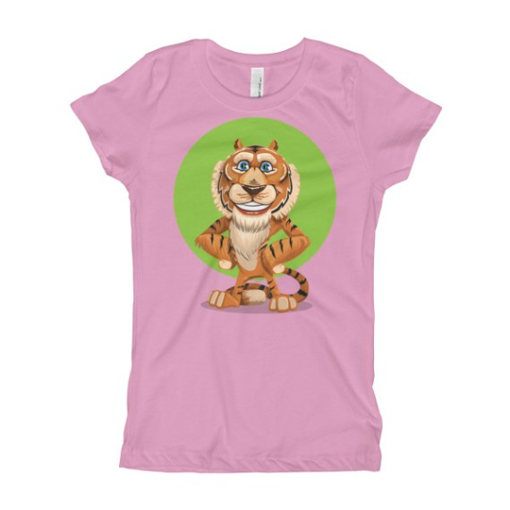 Adorable Smiling Tiger Girl's T-Shirt