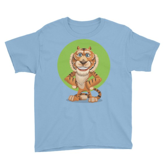 Adorable Smiling Tiger Youth Short Sleeve T-Shirt