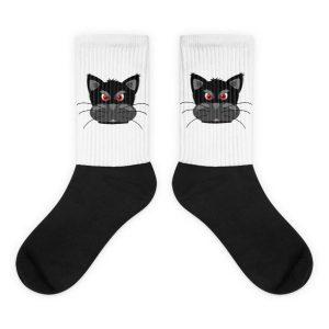 Angry Cat Black foot socks