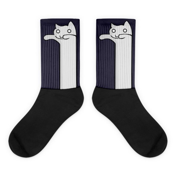 Cat Funny Art Black foot socks