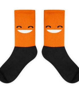 Grinning Orange Face Black foot socks