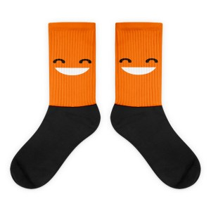 Grinning Orange Face Black foot socks