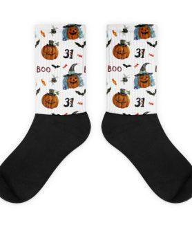 Halloween pumpkins Black foot socks