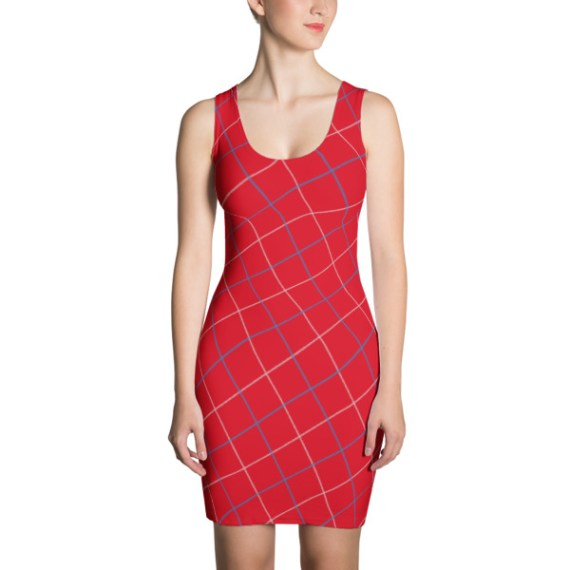 Stripes Red Gingham Tattersall Azure Dress