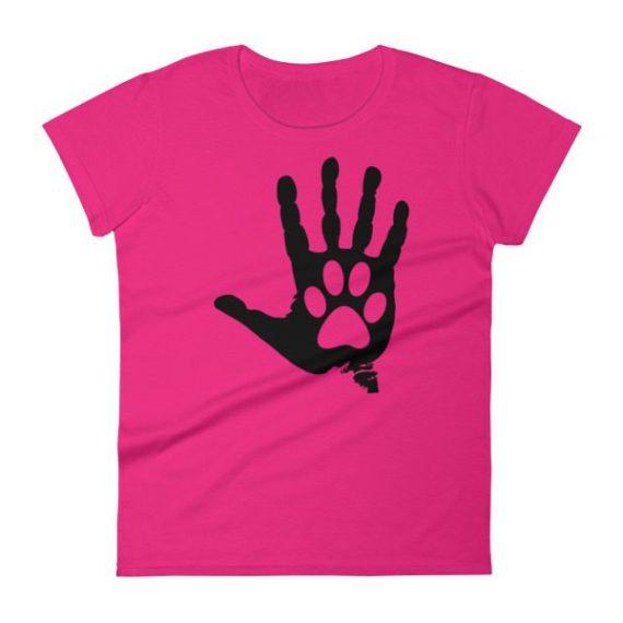 Women's Black Hand And Paw short sleeve t-shirt