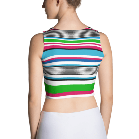 Colorful Tightly Striped Lady Crop Top