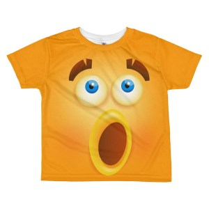 kids Funny Wondering Smiley Face T-shirt - Girl's Funny Face Emoji T-shirt