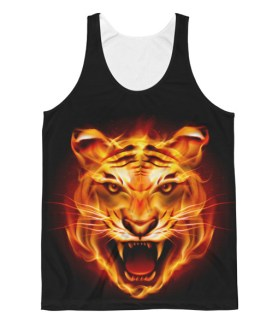 Unisex Aggressive Fire Tiger Classic Fit Tank Top