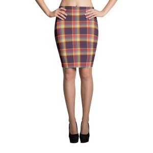 Women's Tartan Pattern Pencil Skirt