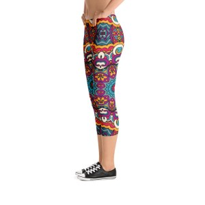 Festive Tribal vintage Colorful Ornamental Capri Leggings