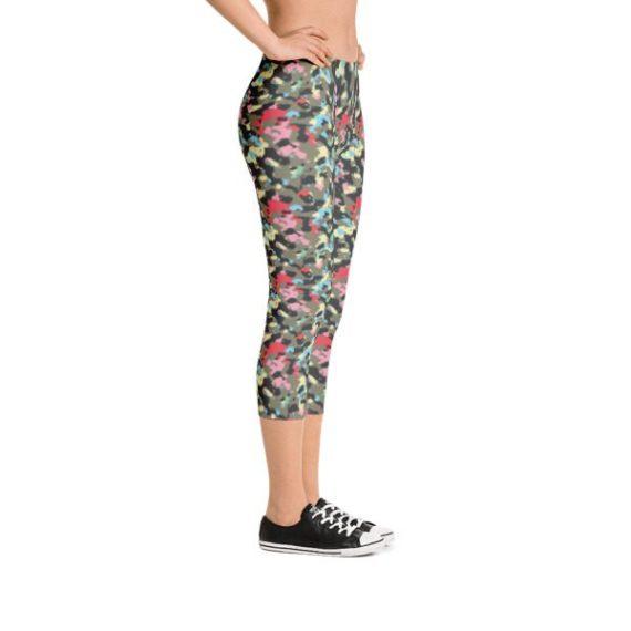Multicolored Fashion woodland Camouflage Capri Leggings