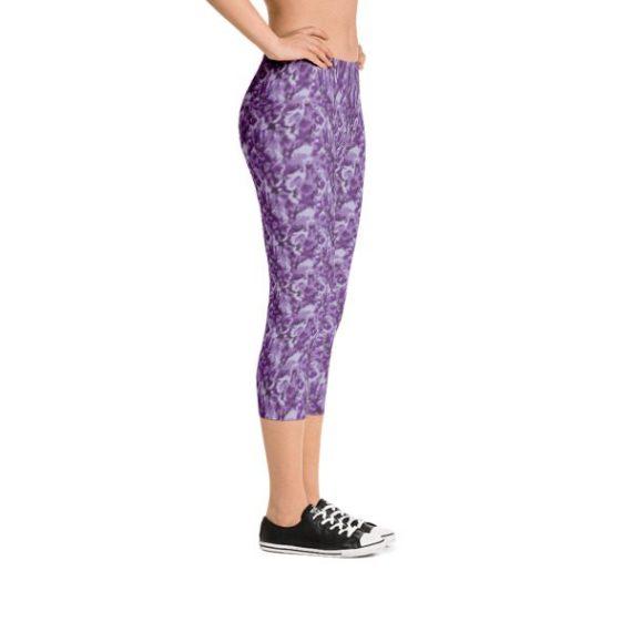 Purple Camouflage Capri Leggings