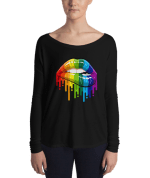 Ladies' rainbow color lips Long Sleeve Tee