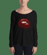 Ladies' red sparkles lips Long Sleeve Tee