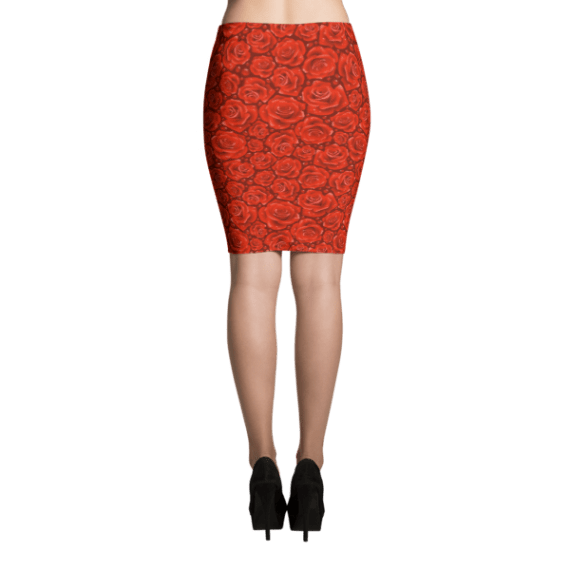 Attractive Red Roses Pencil Skirt