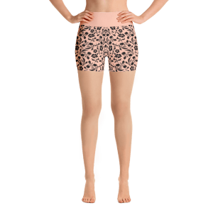 Black Flowers Yoga Short Pants with a Small Inner Pocket