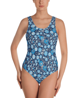 Blue and White Flowers on Dark background One-Piece Swimsuit