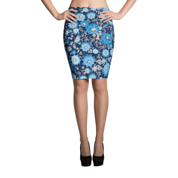 Blue and White Flowers Pencil Skirt