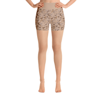 Brown Army Camo Yoga Short Pants with a Small Inner Pocket