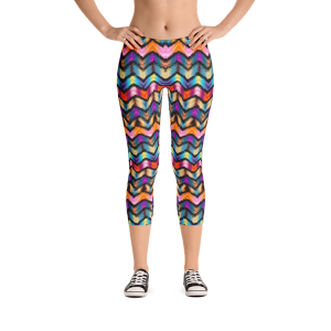 Colorful Ethnic Stripes in Tie-Dye Style Capri Leggings