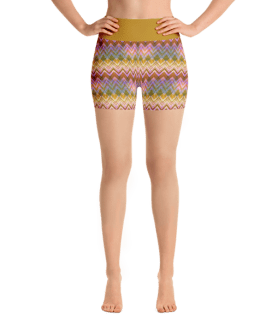 Colorful Ethnic Zigzag Yoga Short Pants with a Small Inner Pocket