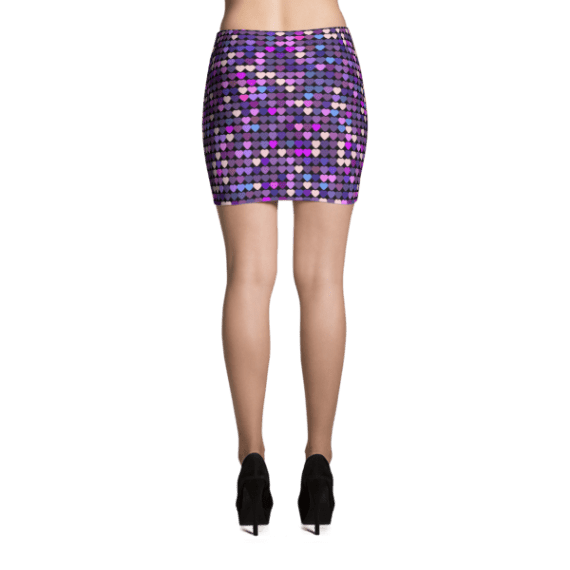 Colorful Glitter Hearts, Party Mini Skirt