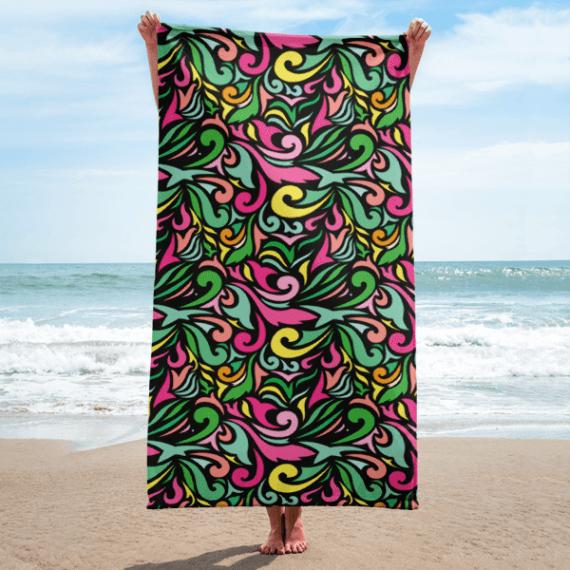 Colorful Oriental Ornaments Towel