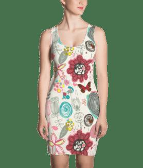 Elegant Flowers and Butterflies Dress