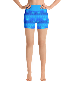 Fancy Blue Stripes Yoga Short Pants with a Small Inner Pocket