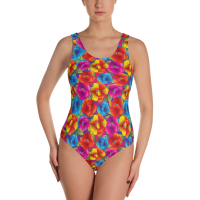 Fancy Swirly Flowers One-Piece Swimsuit - Ladies' Beachwear Bathing Suit