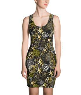 Floral in Doodle style with Flowers and Leaves, Spring Floral Dress
