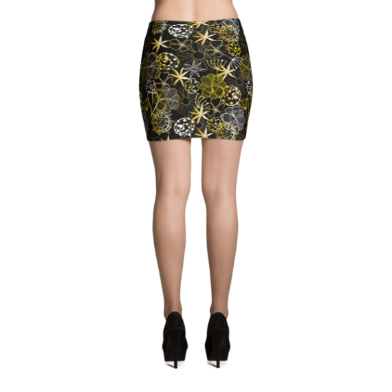 Floral in Doodle style with Flowers and Leaves, Spring Floral Mini Skirt