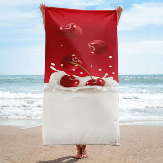 Fresh Cherries in Milk Splash Towel