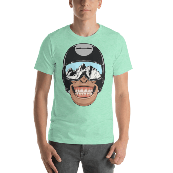 Funny Monkey Wearing a Helmet Short Sleeve Unisex T-Shirt