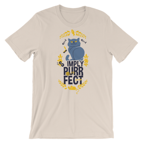 """Gift for Cat Lovers, """"Simply Purrfect"""" Short Sleeve Women's T-Shirt"""