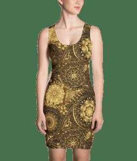 Golden Vintage Floral Ethnic Ornament Dress