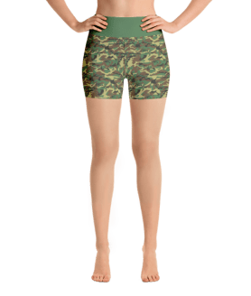 Green Military Camouflage Yoga Short Pants with a Small Inner Pocket