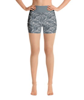Grey Military Camouflage Yoga Short Pants with a Small Inner Pocket