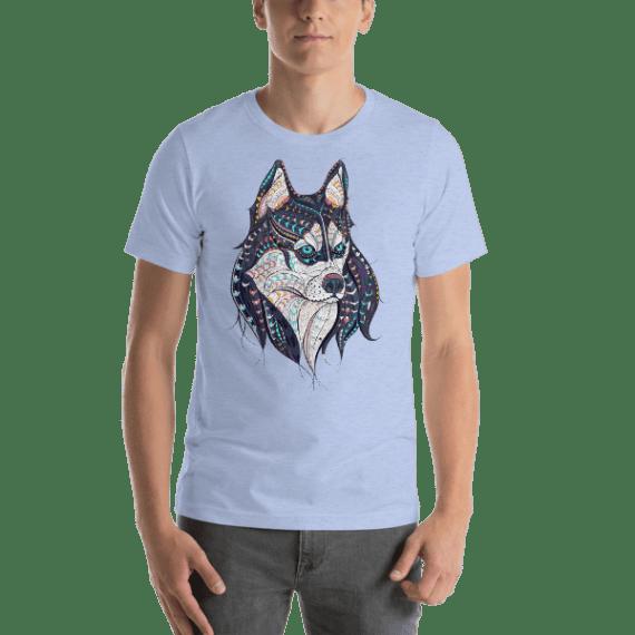 Husky Dog Patterned Head Short Sleeve Unisex T-Shirt