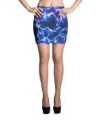 Neon Blue Lightning Mini Skirt