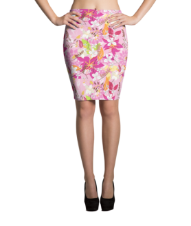 Pink and White Flowers with Leaves Pencil Skirt