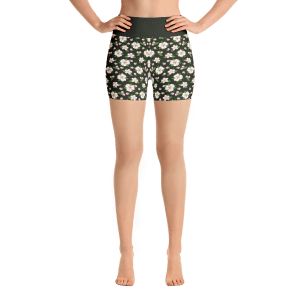 Pink Apple Flowers Yoga Short Pants with a Small Inner Pocket