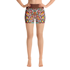 Pretty Texture With Tiny Flowers Yoga Short Pants with a Small Inner Pocket