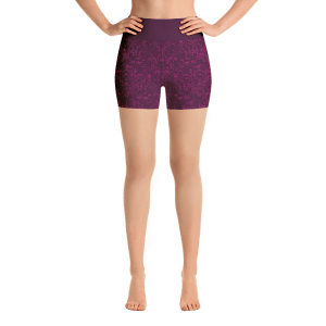 Purple Floral Ornaments Yoga Short Pants with a Small Inner Pocket